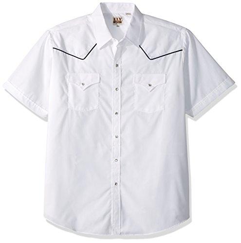 ELY CATTLEMAN Men's Short Sleeve White Western Shirt White Medium