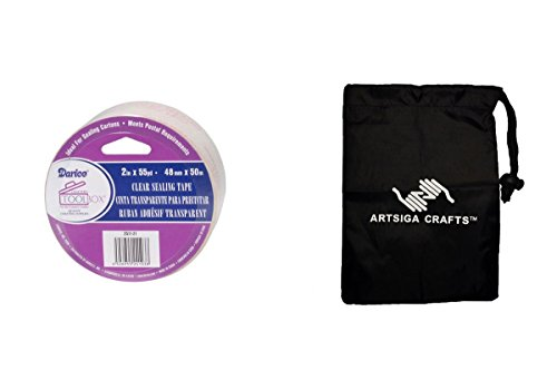 (Darice Adhesive Tape Carton Sealing Clear 2in. x 55yds (6 Pack) 2511 21 Bundle with 1 Artsiga Crafts Small Bag)