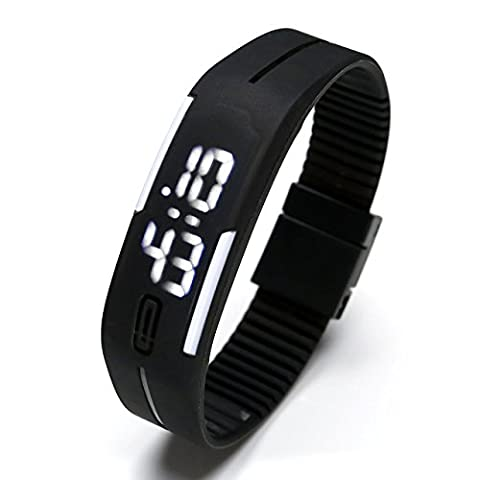 Top Plaza Simple Gel Rubber Bracelet Touch Screen White LED Digital Display Unisex Sports Watch - (Sport Watches Womens White)