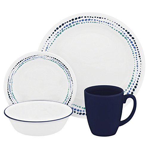 Corelle Livingware 16-Piece Dinnerware Set, Ocean Blues, Service for 4 (Dinner Set Microwave)