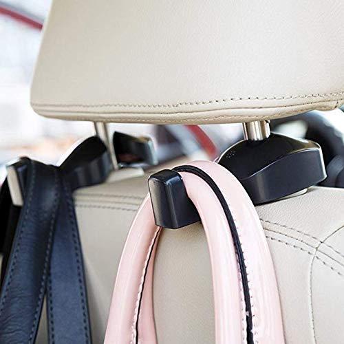 ZZM Universal Car Vehicle Back Seat Headrest Hanger Holder Hook for Bag Purse Cloth Grocery (Black -Set of 2