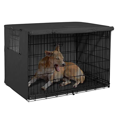 (Explore Land 42 inches Dog Crate Cover - Durable Polyester Pet Kennel Cover Universal Fit for Wire Dog Crate (Black))