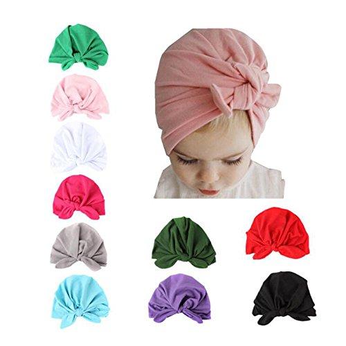 Rose-Red TRIEtree Baby Hats Cute Soft Rabbit Ear Cap Baby Knot Headbands Newborn Head Wrap Baby Girl Gift