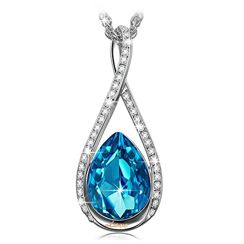 LADY COLOUR Christmas Necklace Gifts for Women Blue Teardrop Infinity Pendant Necklace Swarovski Crystal Jewelry for Women Christmas for Wife Birthday Gifts for Girlfriend Her Surprise Present (Best Surprise For Girlfriend Birthday)