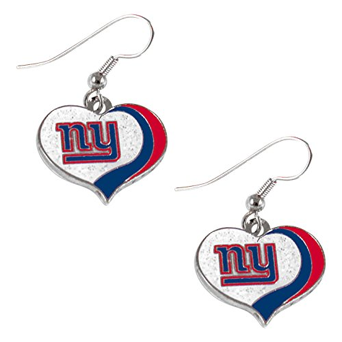 aminco NFL New York Giants Women's Sports Team Logo Swirl Heart Glitter Earring Set, One Size, -