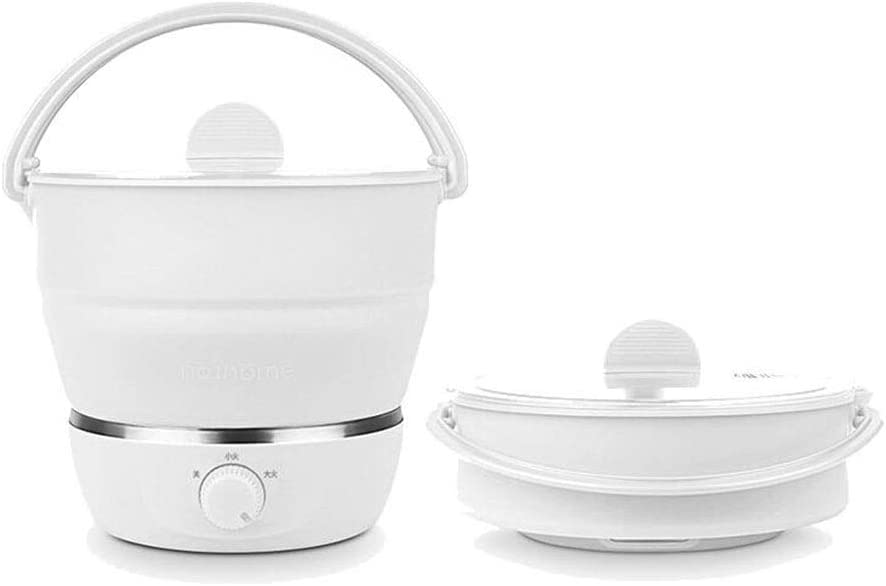 Foldable Electric Hot Pot Cooker, Mini Kettle Food Grade Silicone Cookerware Boiling Water Steamer Portable Travel Global Use-White