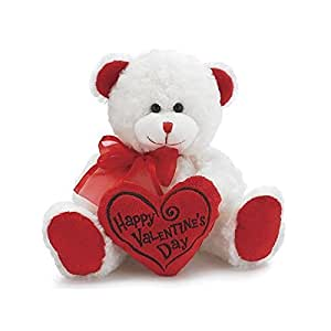 "White & Red ""Happy Valentine's Day"" Plush Teddy Bear Stuffed Animal Gift"
