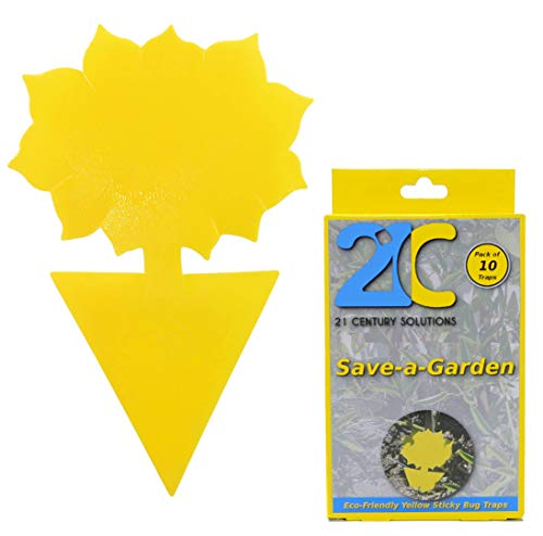 Yellow Dual Sticky Fly Traps (10 Pack) for Fruit Fly Gnat Whiteflies Fungus Gnats Small Insects Houseplant Eco Friendly 21C Save A Garden Flower Shape