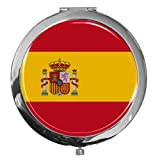 metALUm premium pocket mirror ''flag of Spain'' made of chromed metal with xxxx and fine, high gloss resin coating. - A perfect gift for fans of Spain