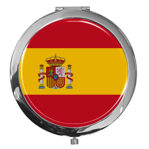 metALUm premium pocket mirror ''flag of Spain'' made of chromed metal with xxxx and fine, high gloss resin coating. - A perfect gift for fans of Spain by metALUm