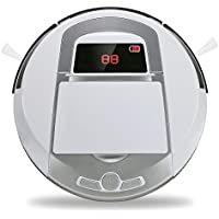 Vacuum Cleaner Robot, FINE DRAGON Automatic Robotic Vacuum Cleaner High Suction Cleaning for Hard Floor and Thin Carpets (White A)
