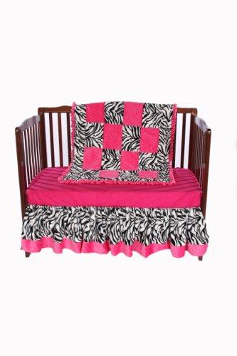 Baby Doll Zebra Minky Crib Bedding Set with Crib Skirt/Dust Ruffle (Minky Dust Crib Ruffle)