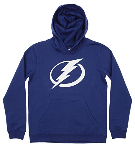 Outerstuff NHL Youth Boy's (8-20) Primary Logo Team Color Fleece Hoodie, Tampa Bay Lightning Medium(10-12)