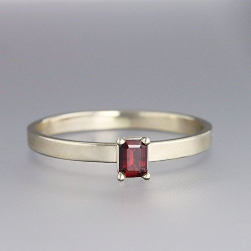 14k White Gold Green Sapphire - 14k White Gold Ring with Red Sapphire - Slim Engagement or Everyday Ring