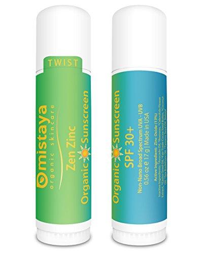 Mistaya Zen Zinc Non-Nano Organic SPF 30 Plus Sunscreen Stick - 0.6 oz (Pack of 2)