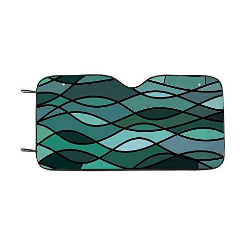 Teal Durable Car Sunshade,Abstract Mosaic Waves Ocean Inspired Expressionist Pattern Marine Design Image Decorative for car,55