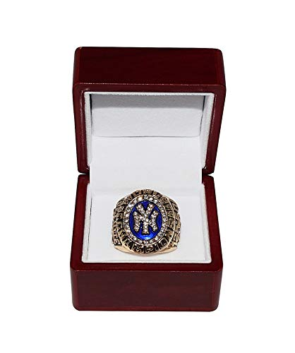 (NEW YORK YANKEES (Andy Pettitte) 1998 WORLD SERIES CHAMPIONS Vintage Rare Collectible High-Quality Replica Gold Baseball Championship Ring with Cherrywood Display Box)