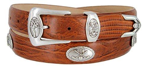 BC3109 - Men's Italian Calfskin Designer Dress Belt with Golf Conchos (34 Lizard Tan)