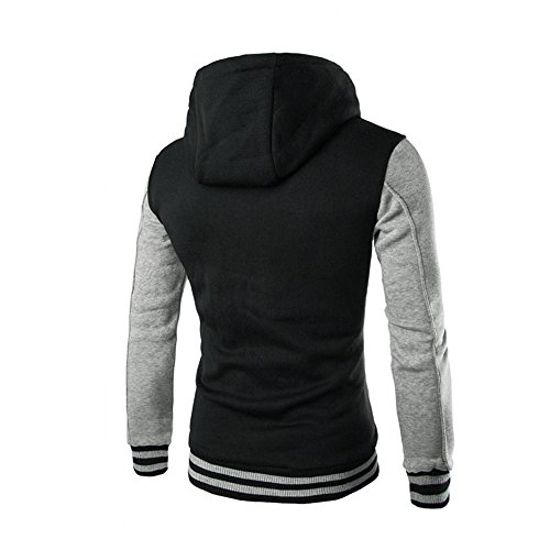 Sweatshirt Outerwear Hooded Gray Sleeve Hoodie HARRYSTORE Retro Hooded Long Jacket Men Button Slim wgqA4T