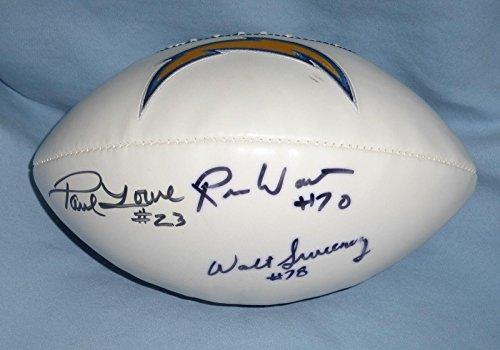 Walt Sweeney Paul Lowe Russ Washington Signed AFL Chargers Football COA - PSA/DNA Certified - Autographed Footballs