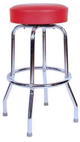 Classic Red Chrome 30 Inch Swivel Bar Stool - Made in USA