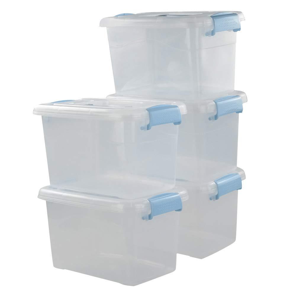 5 Unidades Mayish 7.5qt //8.5l Cajas de Almacenamiento con Tapa y Asas para El Hogar Pl/ástico