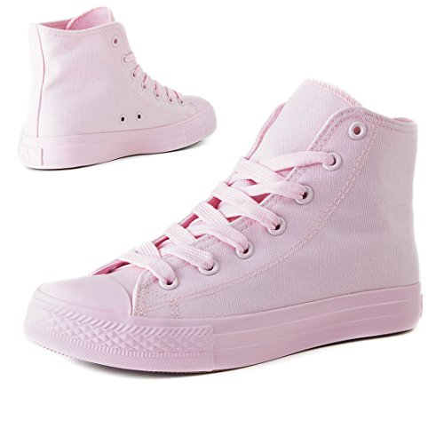 Klassische Unisex Damen Herren Schuhe Low High Top Sneaker Turnschuhe All Rosé High
