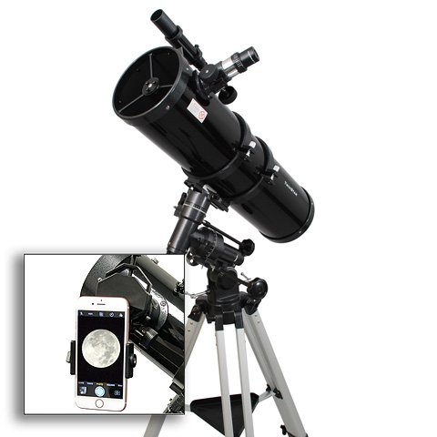 "AstroVenture 6"" Newtonian Reflector Telescope With Universal Smartphone Camera Adapter (Black)"