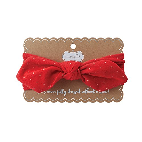 [Mud Pie Baby Knot Bow Cotton Spandex Headband, red, ONE SIZE] (Red Glitter Hair Bows)