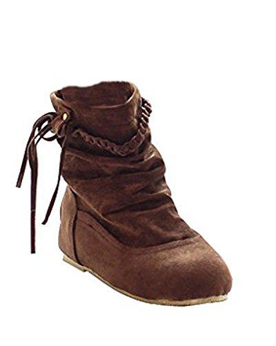Minetom Mujer Otoño E Invierno Calentar Botas De Flecos Moda Zapatos Cargadores Cómodo Botines Marrón