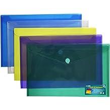 Premium Poly Envelope with Velcro Closure-5pc Mix Colors Set, Letter /A4 Size-translucent