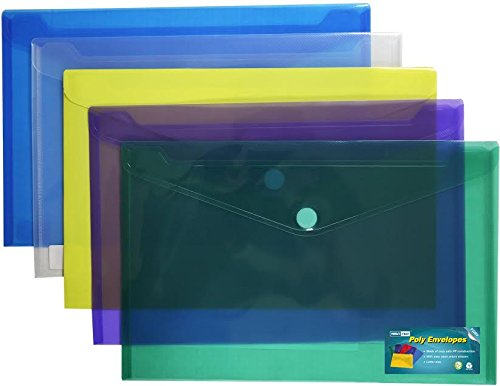 Premium Poly Envelope with Velcro Closure-5pc Mix Colors Set, Letter /A4 Size-translucent