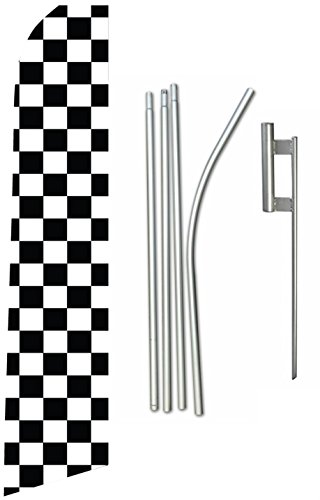 Swooper Feather Flag Kit, 15ft Checkered Black & White Includes Ground Spike and Pole, EZ Line Review