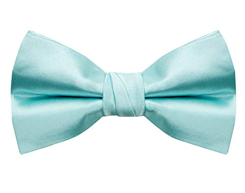 (Spring Notion Men's Solid Color Satin Microfiber Bow Tie Aqua)