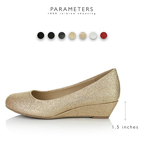 Women's Fashion Glitter Pumps Low Toe Heels Round DailyShoes Comfortable Gold Shoes Wedge UqdZUf