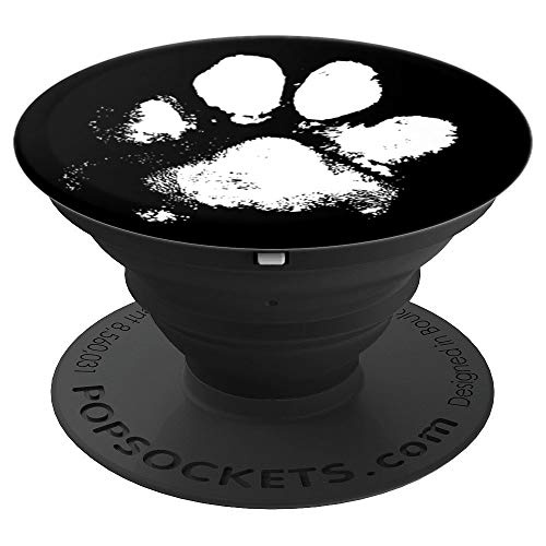 Muddy Messy Dog Paw Print Distressed Look Black & White - PopSockets Grip and Stand for Phones and Tablets
