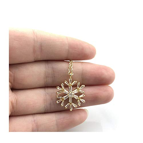 JTY Gold Dainty CZ Snowflake Pendant Necklace,Cute Clear Cubic Zirconia Micro Paved 18K Gold Plated Minimalist Jewelry for Women