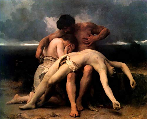 ($50-$2000 Handmade Oil Painting by College Teachers - The First Mourning William Adolphe Bouguereau Nude Classic NCC2 Canvas Art for Home Wall Decoration -Size 09)