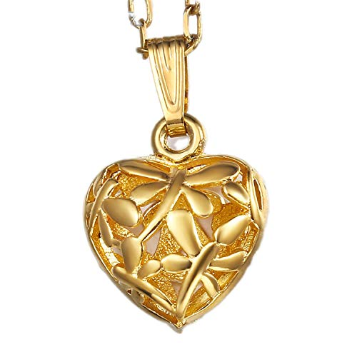 (Heart Shaped Pendant Necklace for Women Hollow Lover Gold Pendant Necklaces Fashion Woman Jewelry Gifts,Pendant Only )