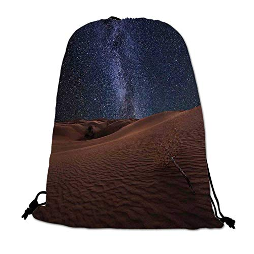 Space Lightweight Drawstring Bag,Life on Mars Themed Surreal Surface of Gobi Desert Dune Oasis Lunar Adventure Photo for Travel Shopping,One_Size