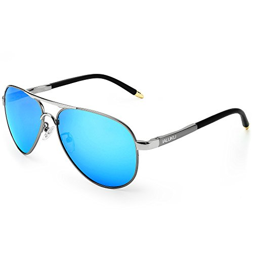 IALUKU Polarized Sunglasses Metal Frame Military Pilot Glasses Men Women (Silver/Blue, 58)