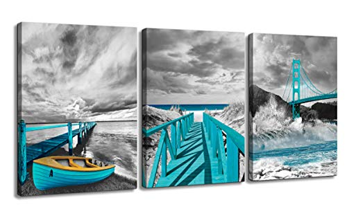 Beach Canvas Wall Art Black and White Coastal Landscape Seascape Teal Golden Gate Bridge Boat Print Picture Artwork Wall Decor Ready to Hang for Bathroom Bedroom Living Room Wall Decoration 12
