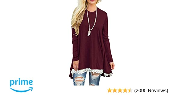 f81096ae9af0 Sanifer Women Lace Long Sleeve Tunic Top Blouse at Amazon Women s Clothing  store