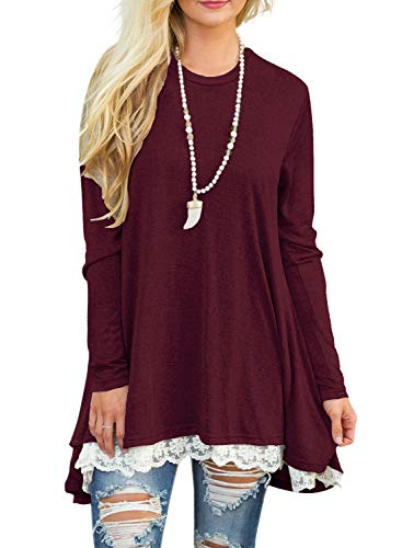 Sanifer Women Lace Long Sleeve Tunic Top Blouse (Medium, Wine Red)