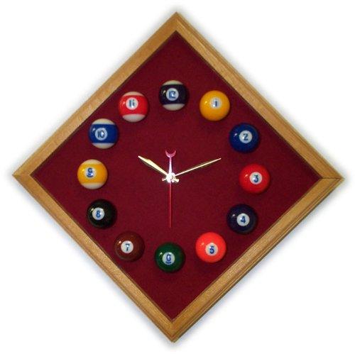 12in Diamond Billiard Clock Oak Burgandy Mali Felt