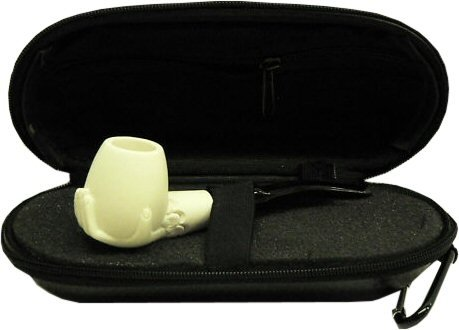 Miniature Meerschaum Pipe - HAND Holding SMOOTH BOWL w/ Zippered Case
