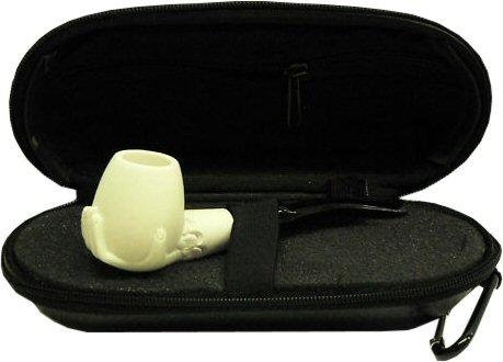 Pipe Hand Meerschaum - Miniature Meerschaum Pipe - HAND Holding SMOOTH BOWL w/ Zippered Case