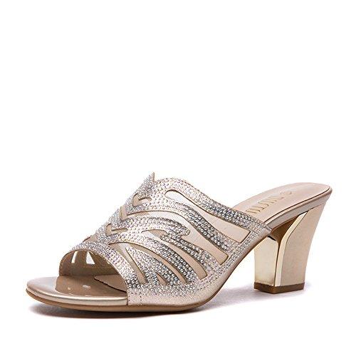 Chaussons Talon Nouveau Golden Percer Fashion Rugueux L'été Haut nAYU6fwUx