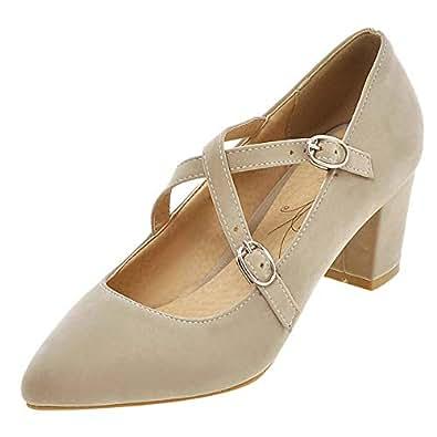 ELEEMEE Women Fashion Block Heel Pumps Cross Strap Closed Toe Prom Shoes Beige Size 32 Asian