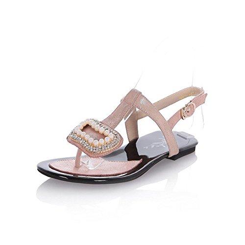 Pink Low heels Soft Toe Buckle Solid Material Split AllhqFashion Women's Sandals cYF7TwvT